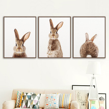 Wall Art Canvas Painting Kawaii Rabbit Animal Nordic Posters And Prints Bunny Nursery Wall Pictures For Living Room Kids Room
