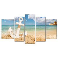 Beach Seascape Anchor With Starfish 5 Pieces Modern Canvas Painting Wall Art The Picture For Home Decoration