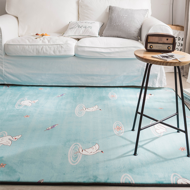 Blue Nordic style swan Fleece Doormat For Living Room Polyester Anti-slip Floor Mat Bathroom Bedroom Home Decor Carpet and Rugs