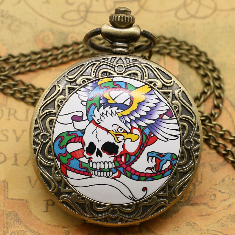 Retro Antique Skull Eagle Snake Design Pocket Watch With Long Necklace Chain