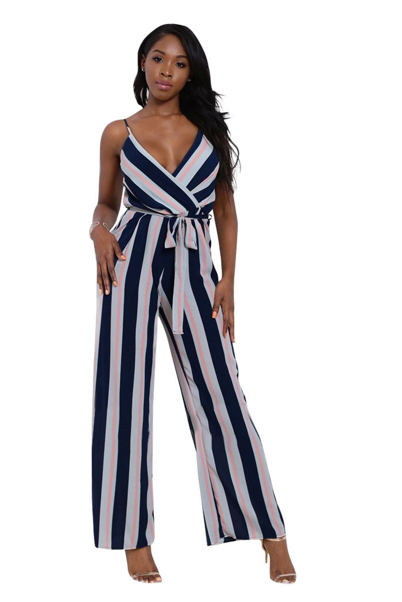 Women Striped Jumpsuit Summer Style Sexy Deep V Spaghetti Strap Jumpsuit Women Casual Straight Long Pants Overalls w/ Sashes