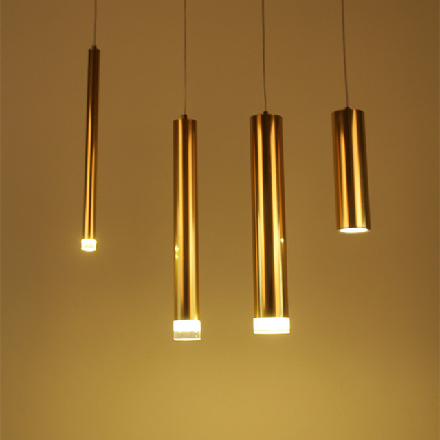 Modern Minimalist Silver/gold Aluminum Cylindrical Tube Led Pendant Light  For Dining Room Bar Deco