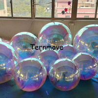 holographic rainbow inflatable mirror ball colorful silver Reflection Stage Festival Hanging pvc balloon hanging decoration