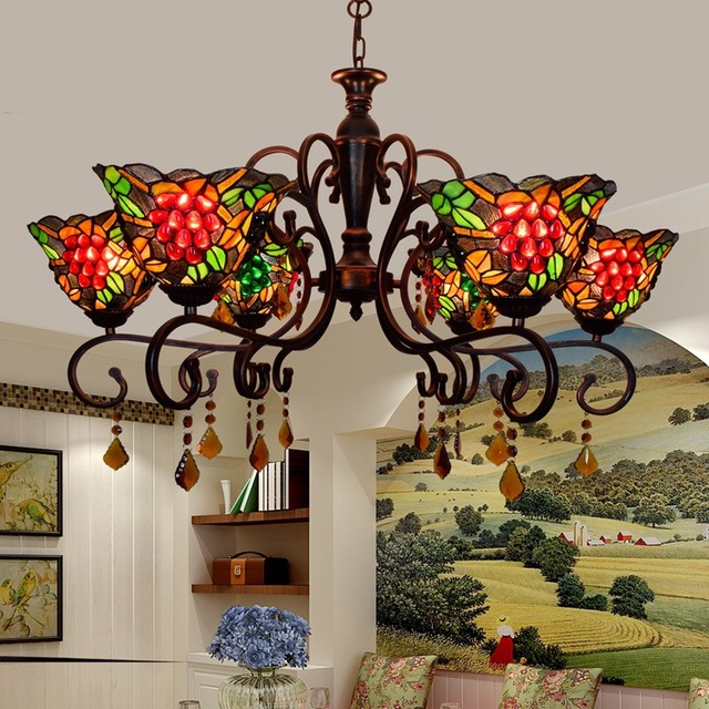 Tiffany Pastoral Grape European Retro Pendant Light Living Room Master Bedroom Dining Lamp