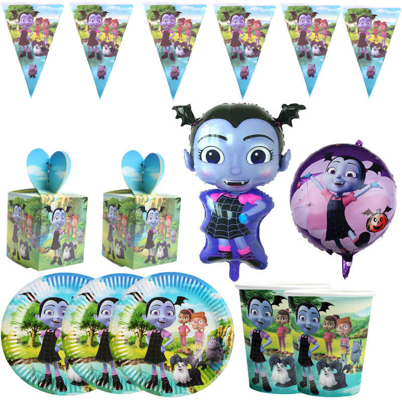 Vampirina Girl Paper Plates Cups Happy Birthday Party Supplies  Disposable tableware Wedding Decoration Baby Shower for Girls
