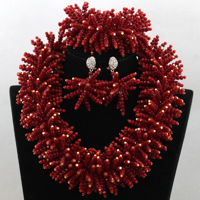 2017 Chunky African Beads Jewelry Sets Spike Red Nigerian Wedding Crystal Women Statement Necklace Set Free Shipping WA631 джинсы replay wa631 12c957b 010