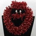 2017 Chunky Boda Nigeriano Beads Africanos Joyería Establece Pico Rojo WA631 Crystal Declaración Collar de Las Mujeres Fijó El Envío Libre
