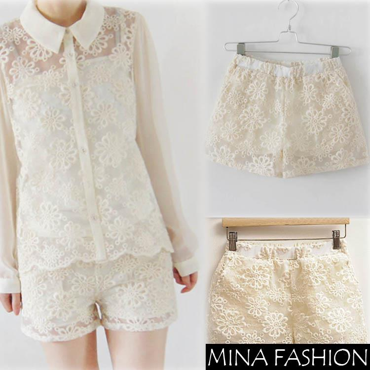 NEW SWEET ORGANZA LACE EMBROIDERED FLOWERS ELASTIC WAIST SHORTS, LINED, TWO POCKETS GWF-6425890Freeshipping