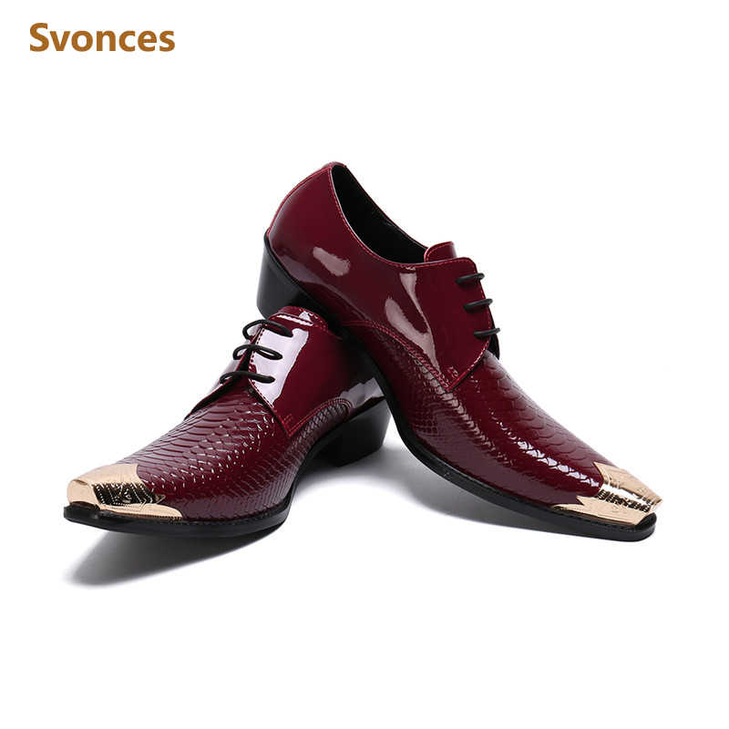 Dress Shoes Mens Shining Wine Red