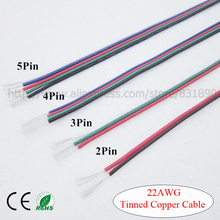10m 22awg cable Tinned led wire 2p 3p 4p 5p RVB RGB RGBW led cables PVC insulated electrical LED strip connector extend UL2468