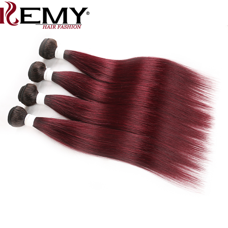 4 Bundles Human Hair T1B 99J Dark Root Ombre Red Brazilian Straight Human Hair Weave Bundles KEMY HAIR Non-Remy Hair Extension
