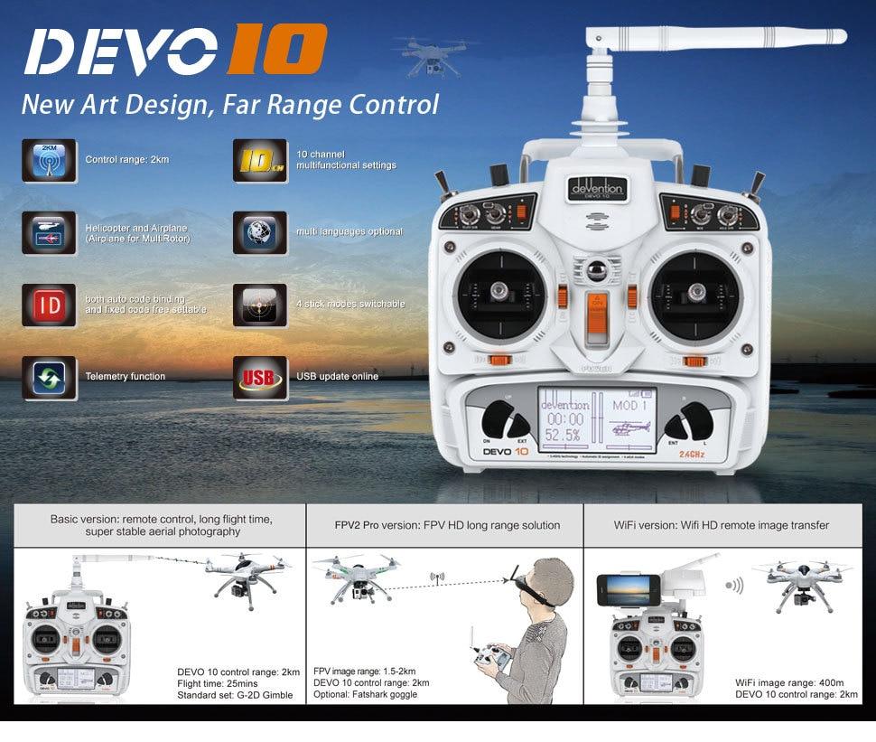 Oyuncaklar ve Hobi Ürünleri'ten Parçalar ve Aksesuarlar'de Yeni Beyaz Walkera DEVO 10 CH 10ch Verici 2 KM 2.4 Ghz Telemetri Fonksiyonu Radyo Sistemi + RX1002 Alıcı'da  Grup 1