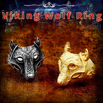 Beier 316L Stainless Steel Norse Viking Nordic wolf Head men Amulet  Odin 's Symbol rune wholesale ring fashion jewelry LR534
