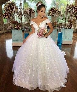 Image 5 - Роскошное Свадебное платье принцессы 2020 с открытыми плечами, блестящее бальное платье, свадебное платье на шнуровке, длинное платье для невесты