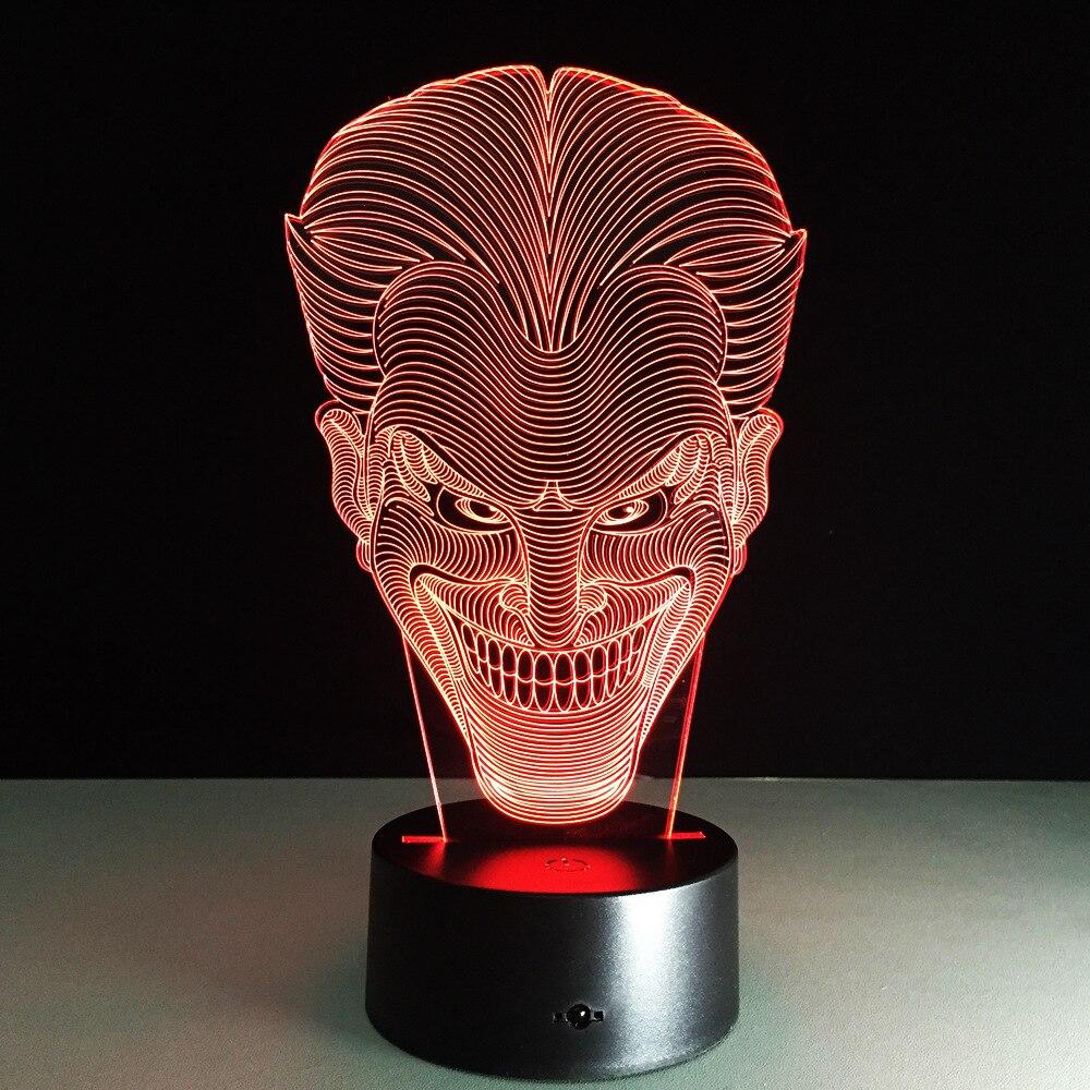 Joker 3D Led Night Light Colorido Acrílico Batman Joker USB LED - Luces nocturnas - foto 4