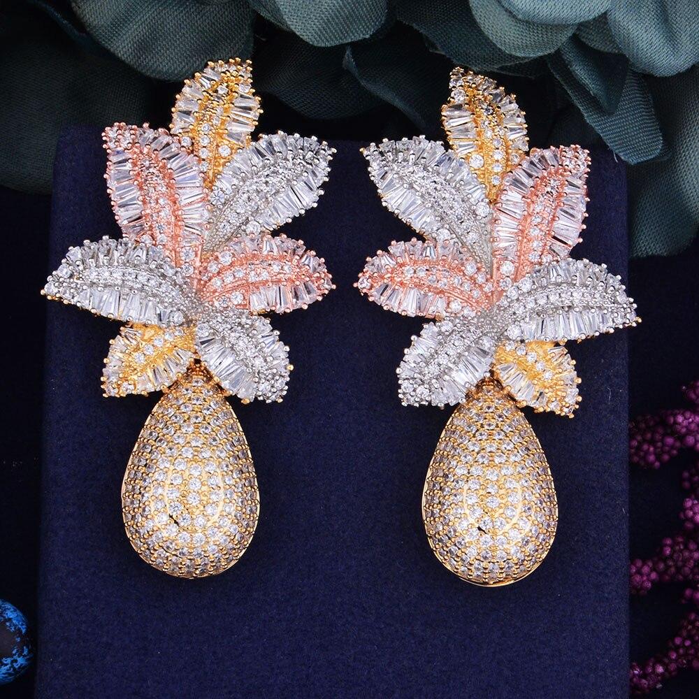 GODKI 68mm Luxury Leaf Drop Flower Full Micro Cubic Zirconia Paved Naija Wedding Party Earring Fashion Jewelry For Women