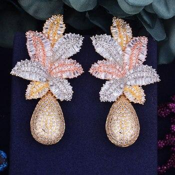 GODKI 68 мм Роскошные листья падение цветок полный микро кубического циркония проложили Naija Свадебная вечеринка серьги модные украшения для же...