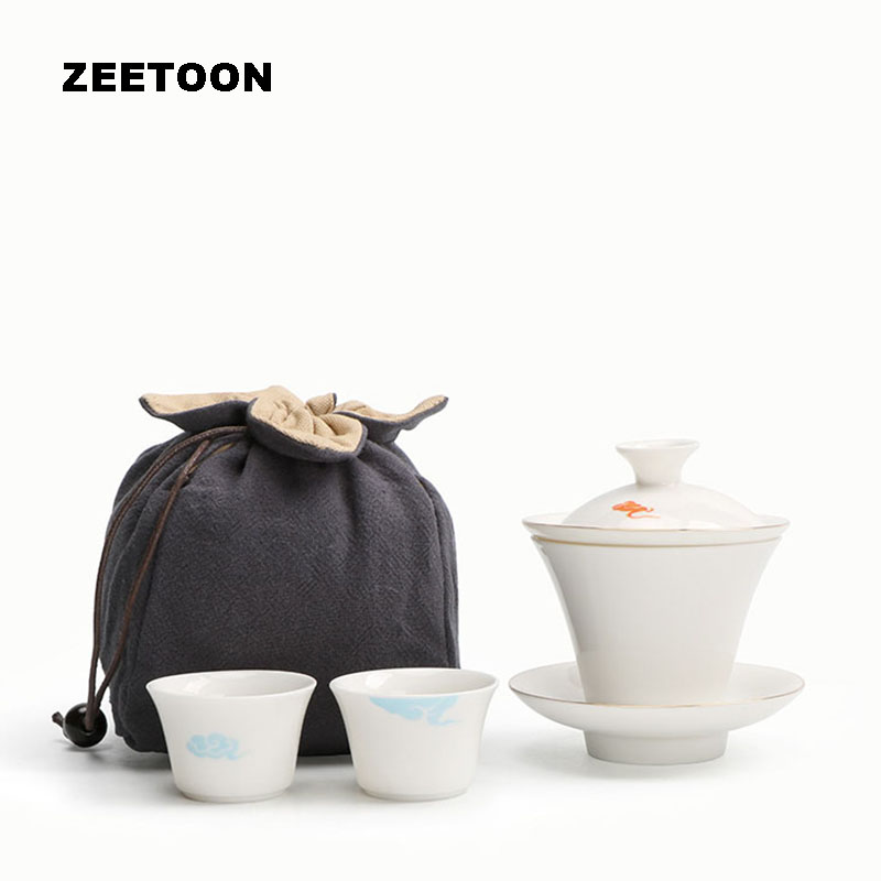115ml Japanese Style White Jade Porcelain Deer Quick Cup Gaiwan Teacup Portable Travel Tea Kit Kung Fu Tea Set with Tea Strainer