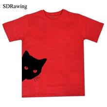 Vicces macska néző oldal nyomtatása női póló pamut alkalmi Vicces póló Lady Girl Top Tee Hipster Tumblr Drop Ship