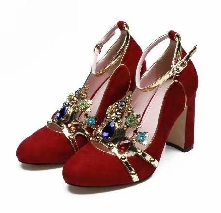 Diamants Photos Couleur Boucle D'autres Femme Faire Impériale Taille Grande Chunky Réel Mariage Personnalisée Chaussures Couronne Talon De Haut qfpOwd5x