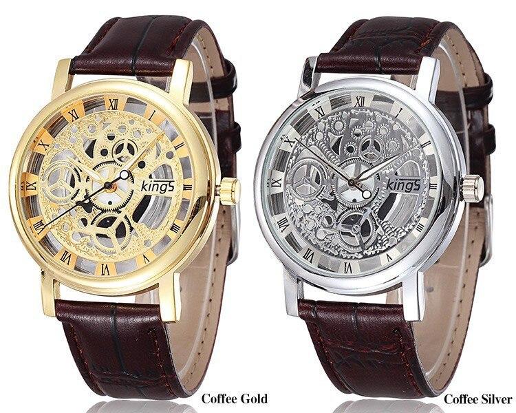 Luxury Kings Brand Gold Silver Hollow Skeleton Leather Watch Men sports Quartz Wristwatch Relogio Masculino