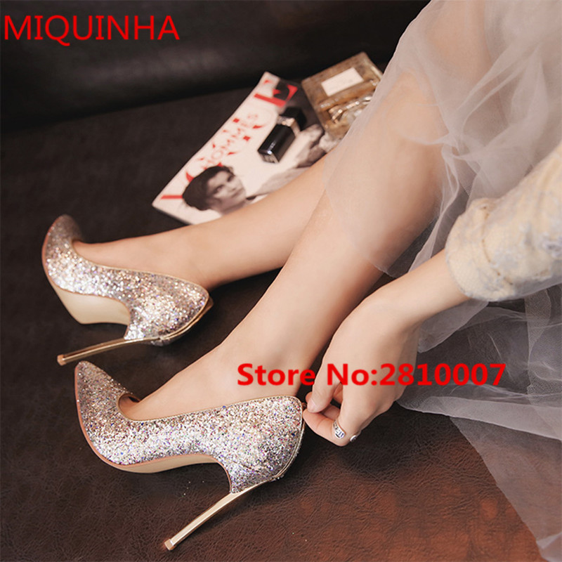 Spring Wedding Elegant Shoes MultiColor Glitter Bling Bling Women Pumps Pointed Toe Slip On Stiletto Blade High Heel Shoes Woman gold sliver shoes woman for 2016 new spring glitter bling pointed toe flats women shoes for summer size plus 35 40 xwd1841