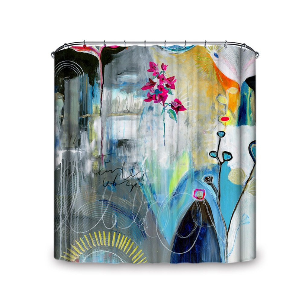 ✓Oil Painting Style A Red Flower Pattern Unique Shower Curtain ...