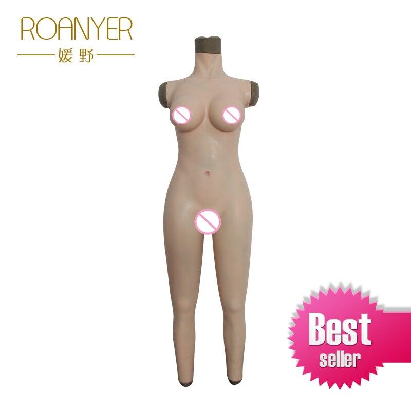 Roanyer transgenres prothèses mammaires en silicone femelle corps entier convient shemal seins artificiels pénétrable faux vagin pour crossdress