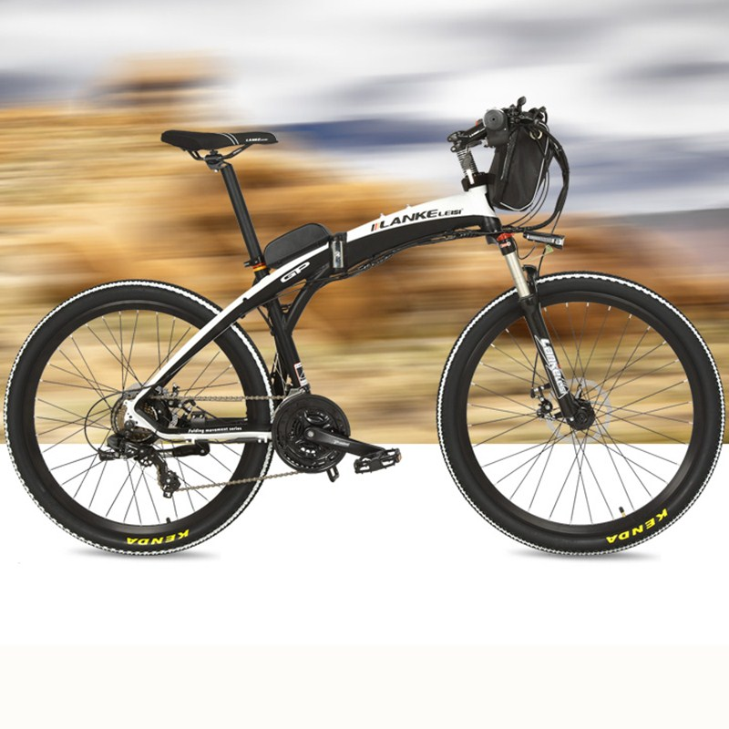 Nuevo, bicicleta eléctrica Lankeleisi, bicicleta plegable, 26 pulgadas, 36 V 48, 240 W, freno de disco, plegable rápido, bicicleta de montaña