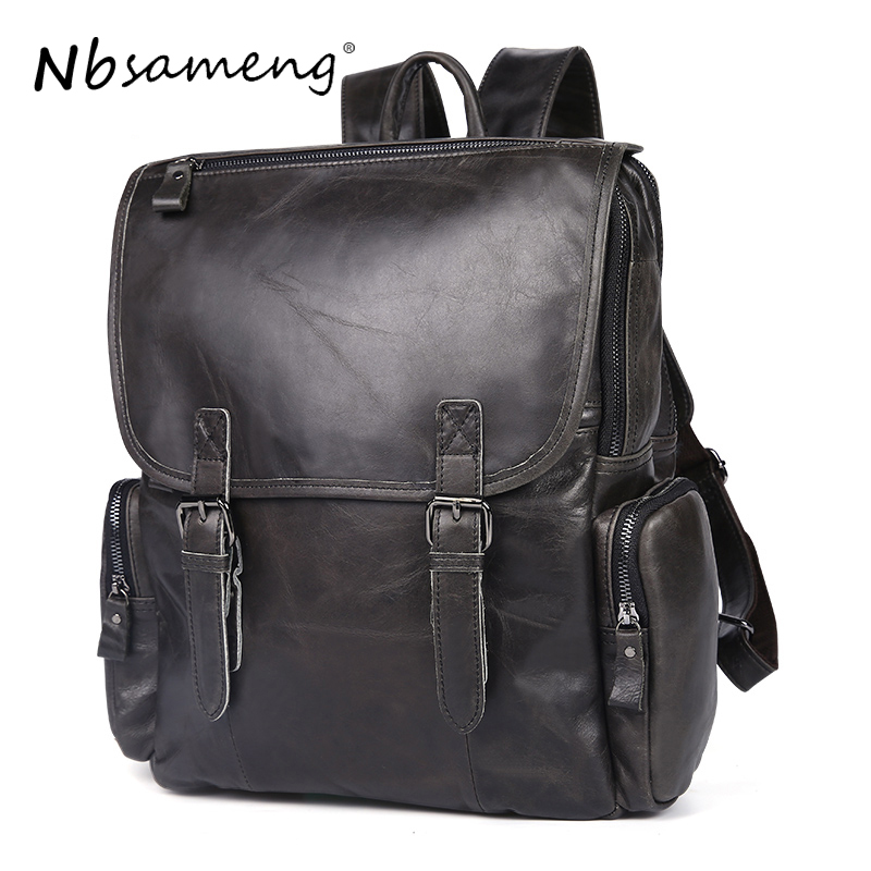 NBSAMENG Genuine Cowhide Leather Men Backpacks Travel Duffel Bags Leather Shoulder Bag Mochila School Laptop Bags new gravity falls backpack casual backpacks teenagers school bag men women s student school bags travel shoulder bag laptop bags