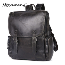 NBSAMENG Genuine Cowhide Leather Men Backpacks Travel Duffel Bags Leather Shoulder Bag Mochila School Laptop Bags