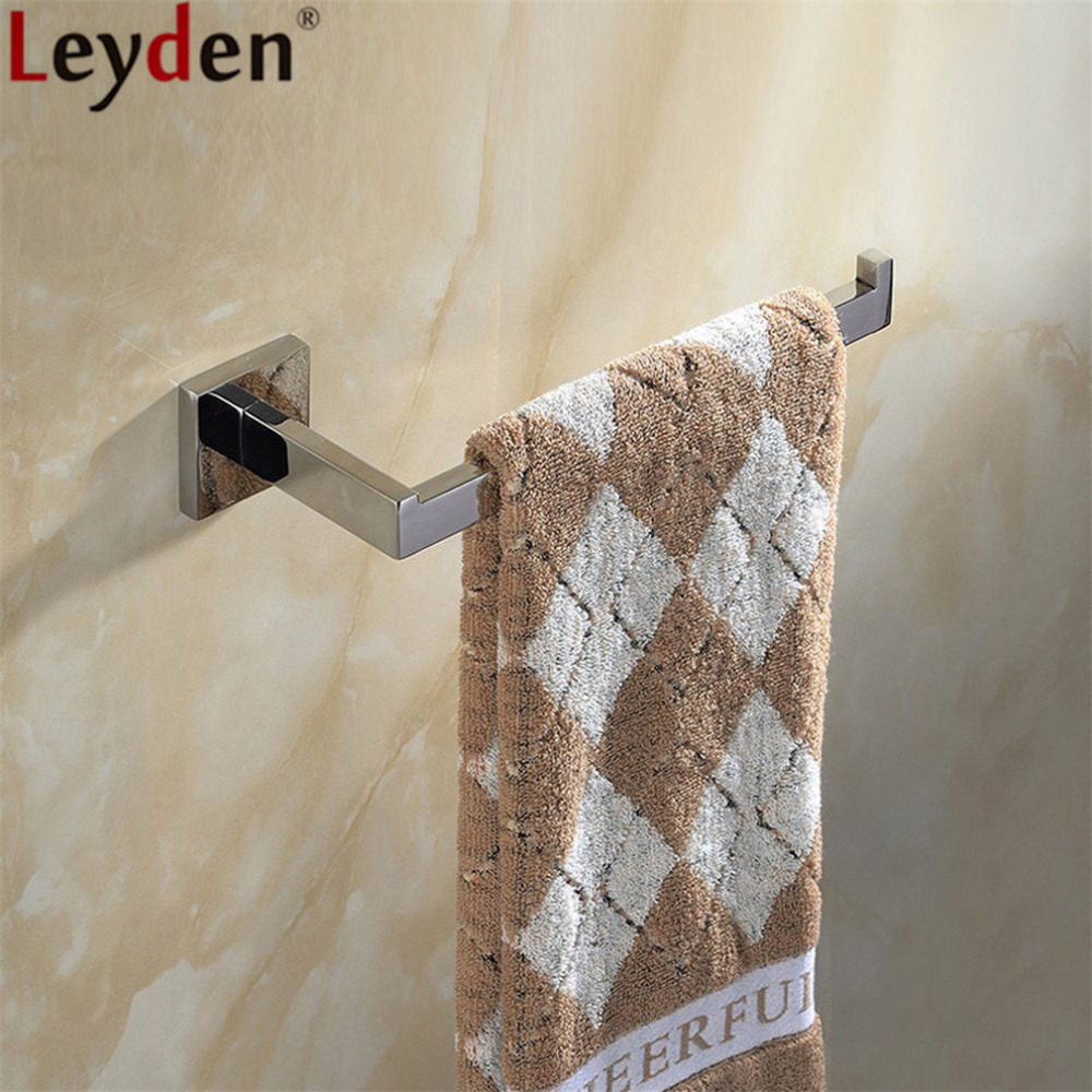 Leyden Bathroom Towel Ring Wall Mounted Chrome <font><b>SUS</b></font> <font><b>304</b></font> Stainless Steel Towel Holder Towel Hanger Bathroom Accessories image