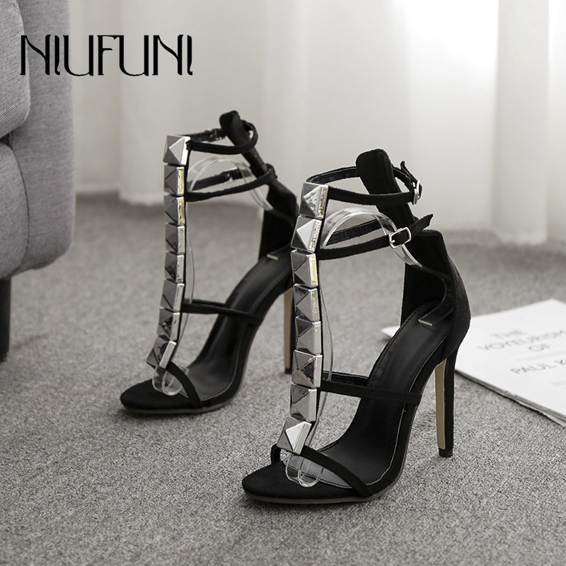 Fashion Rivet Roman Shoes 2019 Womens Sandals Summer New Arrival Hollow Belt Buckle High Heels Ladies T-shaped