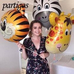 1 piezas de la selva Animal tigre león mono cebra jirafa vaca aire globo de helio niños Safari fiesta de cumpleaños Decor Zoo tema suministros