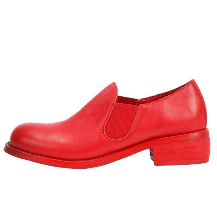Mujeres Casuales Nueva Pie En Zapatos Dedo rojo Acogedor Moda Negro Rojo Negro Mocasines Mujer Las Del Redondo Chica Grueso Tacón Suave Cuero De 2019 O8Oxv