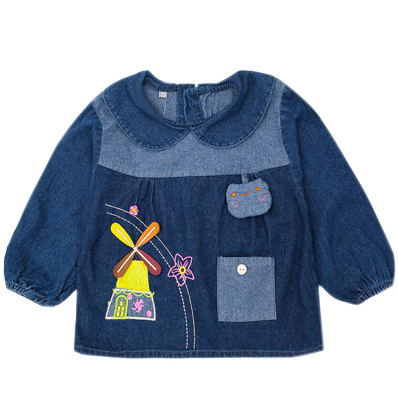 Lights & Lighting Capable Baby Denim Blouse Pure Cotton Baby Dinnerwear Mens And Childrens Blouse Overcoat Spring And Autumn Painting Long Sleeve Apron