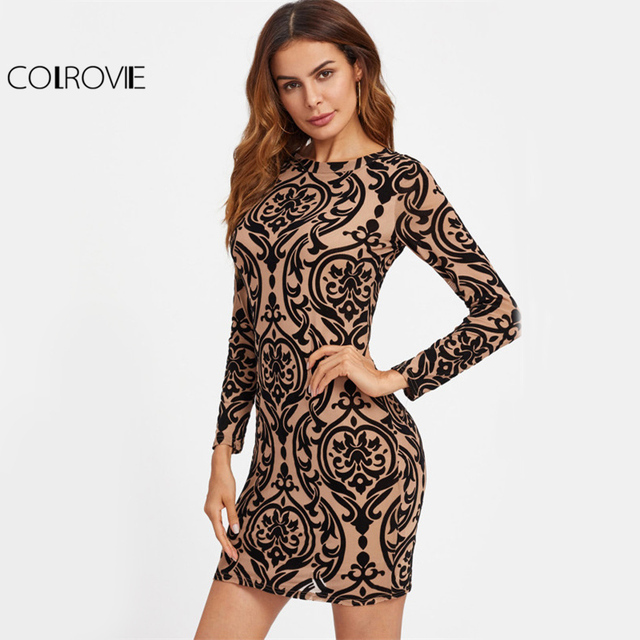 COLROVIE Damask Print Sexy Party Dress Keyhole Back 2017 Women Brown Bodycon Summer Dress Fashion Autumn Long Sleeve Mini Dress