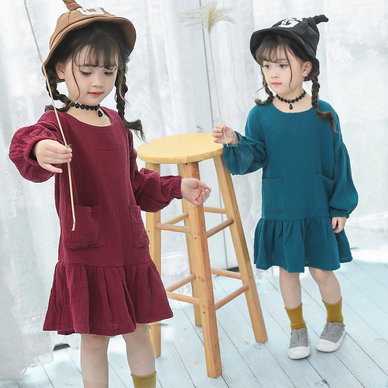 new fashion spring autumn 2-8 years old child clothes girl cotton linen dress baby solid dresses children clothing kids dress children s spring and autumn girls bow plaid child children s cotton long sleeved dress baby girl clothes 2 3 4 5 6 7 years