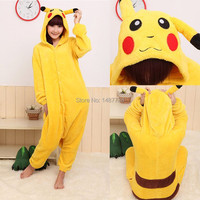 New Winter Sleepsuit Adult Cartoon Yellow Pikachu Onesie Unisex Animal Onesies Costumes Sleepwear Pajamas Cosplay
