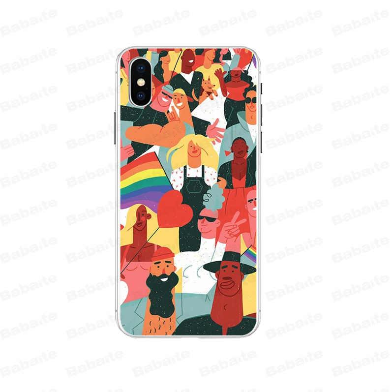 Babaite Gay lesbienne LGBT ART de la fierté arc-en-ciel. Bricolage coque de téléphone imprimée coque de couverture pour iPhone 8 7 6 6S Plus 5 5S SE XR X XS MAX