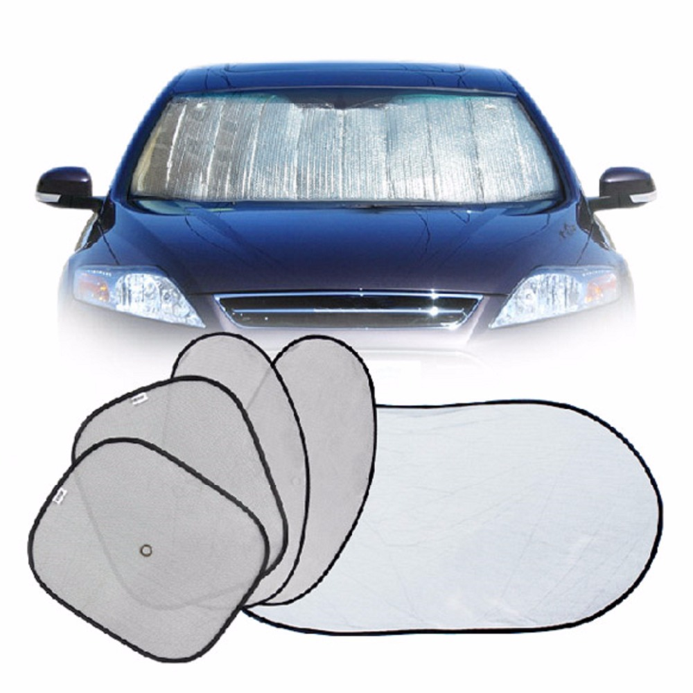 6Pcs/set Folding Silvering Reflective Car Windshield Window Sun Shade Visor Shield Cover Suction Cups Provided High Quality