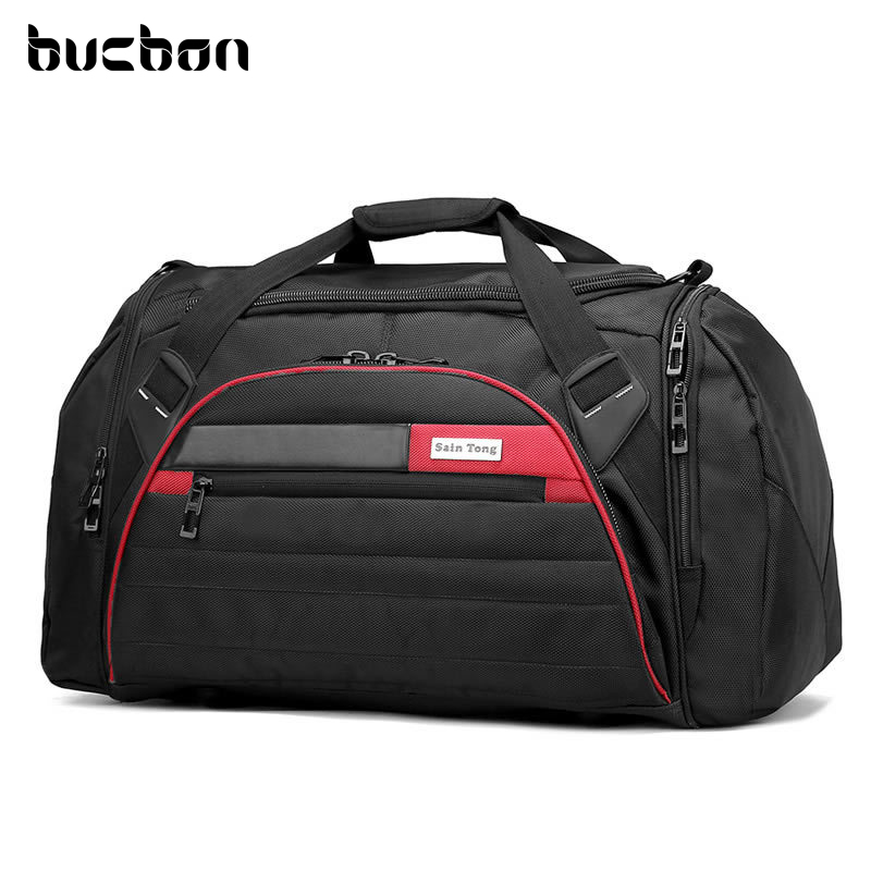 Bucbon 45l Large Multi-function Sport Bag Men Women Fitness Gym Bag Waterproof Outdoor Travel Sports Tote Shoulder Bags HAB092 temena large capacity outdoor sports bag for men new brand pu tote duffel bag multifunction travel sports gym fitness bag ac12