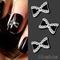 10 pcs Metal 3D Rhinestone Bowknot bow Nail Art Glitters Dicas de Decoração de Manicure ferramentas 02SH 2UGN 7CY4