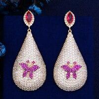 Luxury Teardrop Shape Butterfly Inlaid Dangle Earrings Cubic Zirconia Earrings Jewelry For Women boucle d'oreille femme 2018