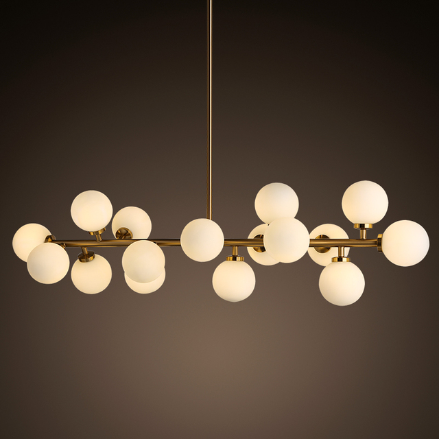 New Design Beanstalk Pendant Lights Fixture 16 Heads Glass Shade Gold Bar Led Lamp For Dining