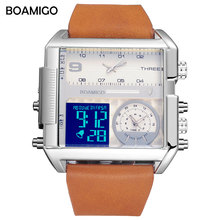 män 3 tidszon klockor BOAMIGO varumärke man sport digital analog klockor läder rektangel armbandsur vattentät present klocka