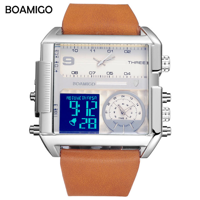 men 3 time zone watches BOAMIGO brand man sports digital analog watches leather