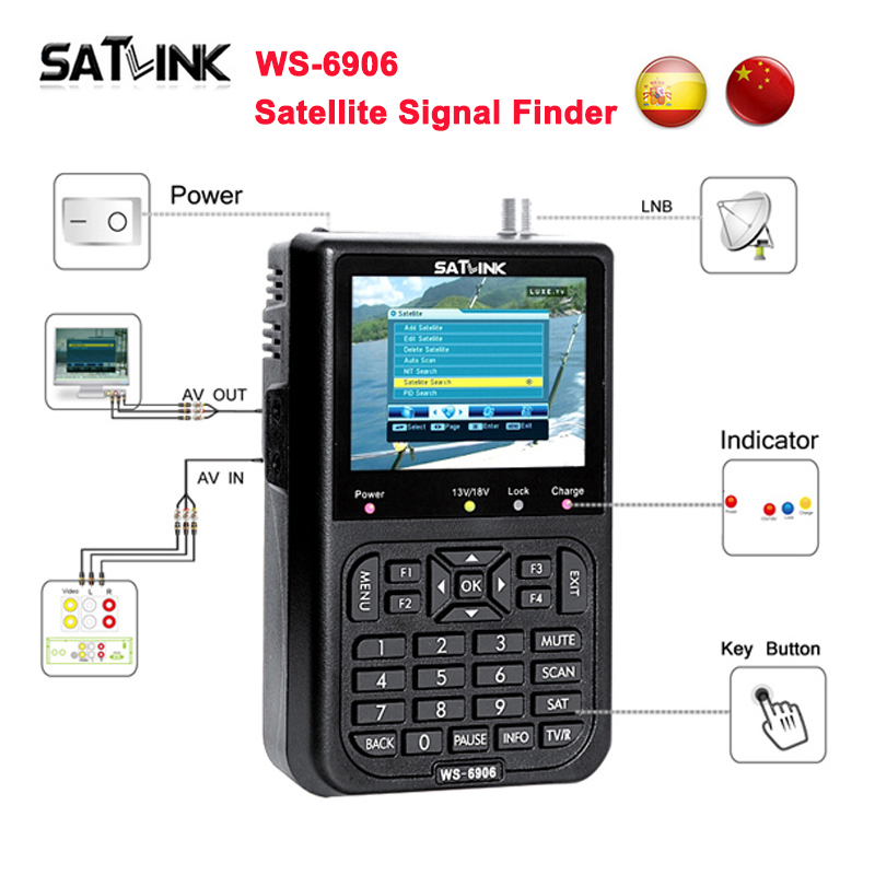 Original WS-6906 satellite Finder DVB-S2 3.5 inch LCD Display DVB-S FTA Digital Satellite Signal WS 6906 sat finder Meter WS6906 satlink ws 6979se dvb s2 dvb t2 mpeg4 hd combo spectrum satellite meter finder satlink ws6979se meter pk ws 6979