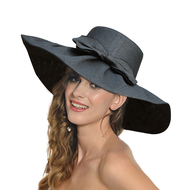 Sun Hats For Women Linen Large Wide Brim Kentucky Derby Hats Bow Design Ladies  Sun Beach Cap Women Summer Hat A047 e29e6427acc