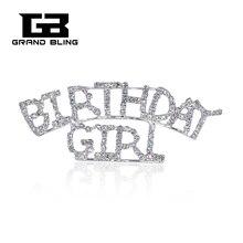 Arched Design BIRTHDAY GIRL Rhinestone Word  Lapel Pin